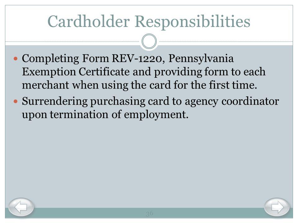 Cardholder Responsibilities