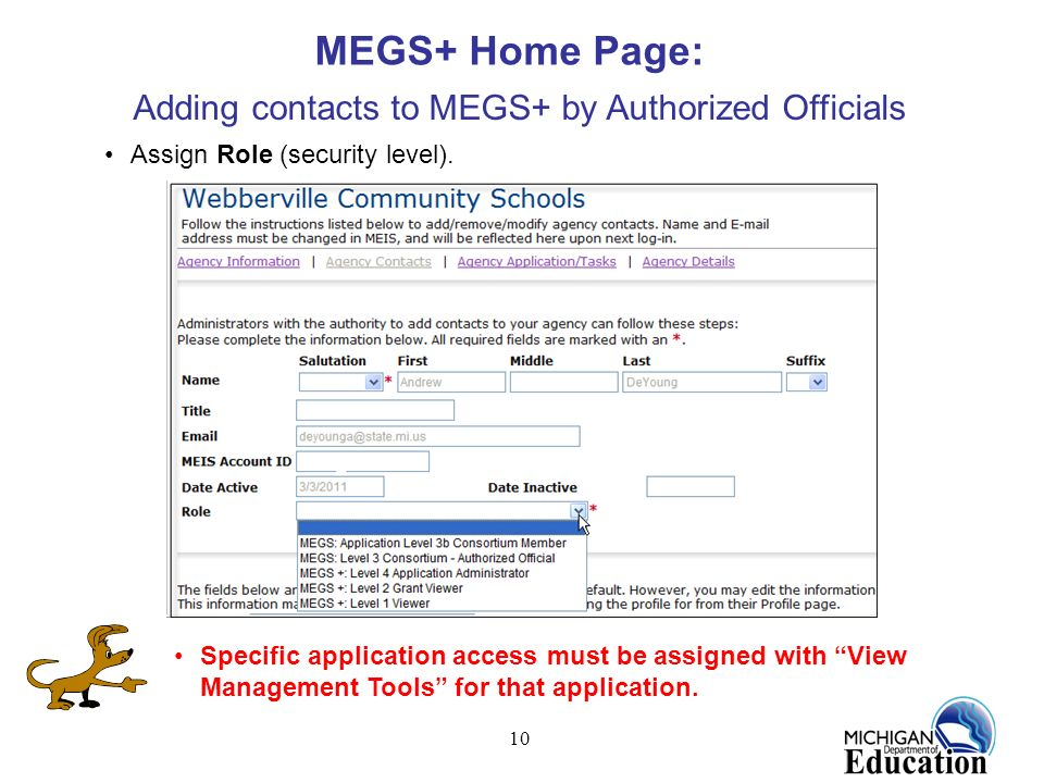 Adding contacts to MEGS+ by Authorized Officials