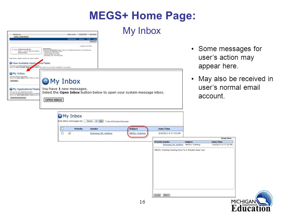 MEGS+ Home Page: My Inbox