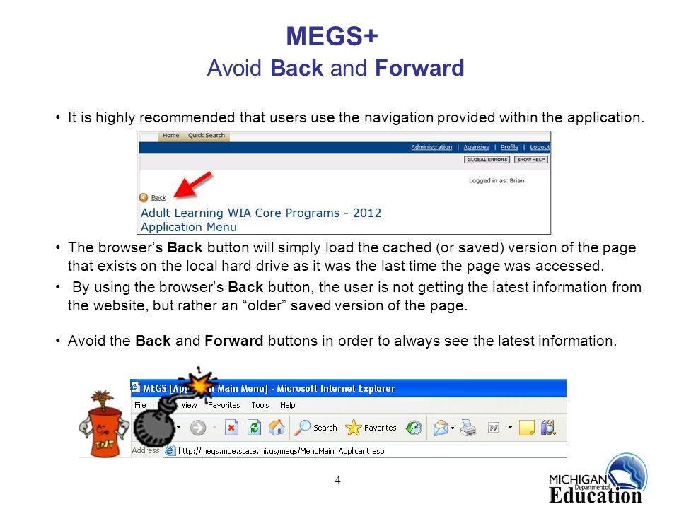 MEGS+ Avoid Back and Forward