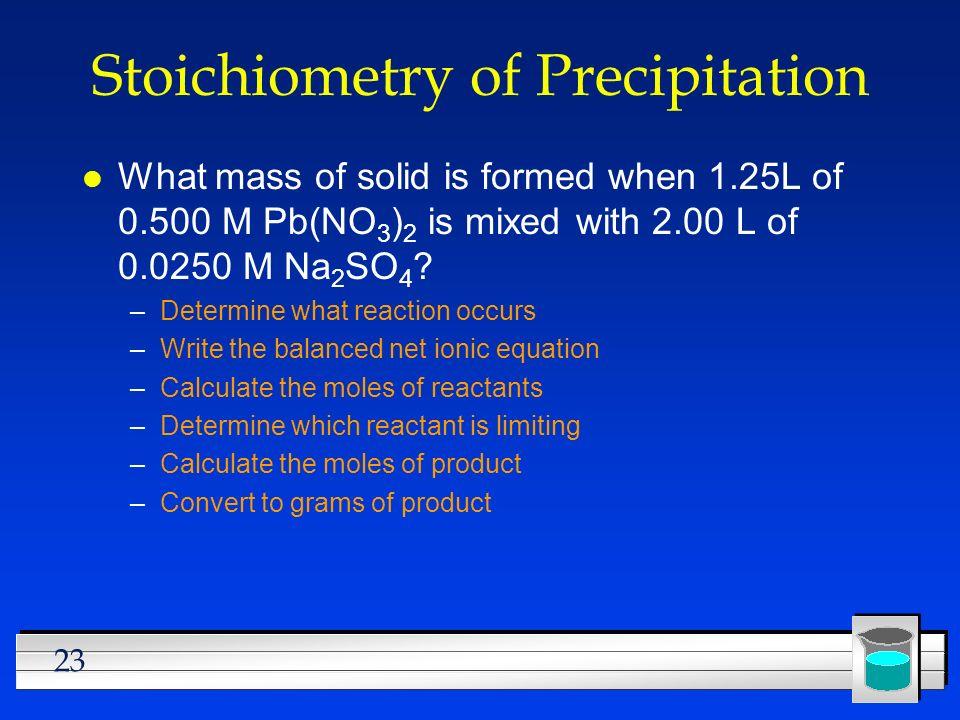 Stoichiometry of Precipitation