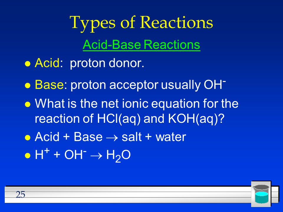 Types of Reactions Acid-Base Reactions Acid: proton donor.