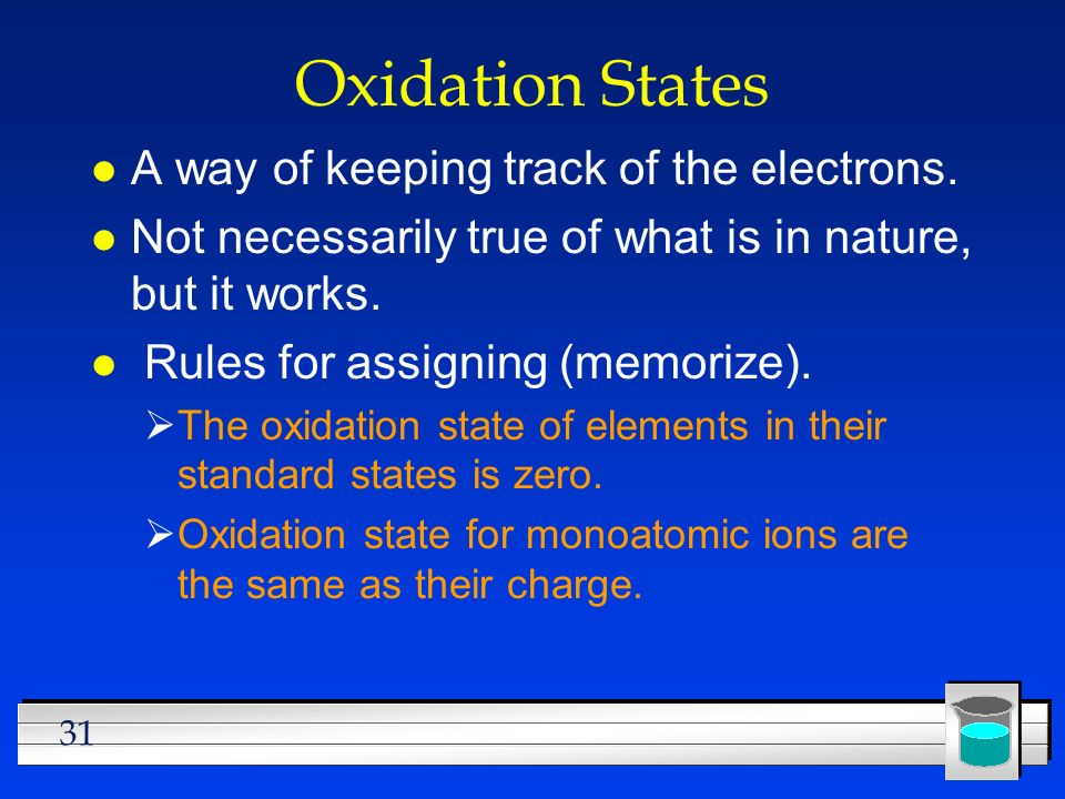Oxidation States A way of keeping track of the electrons.