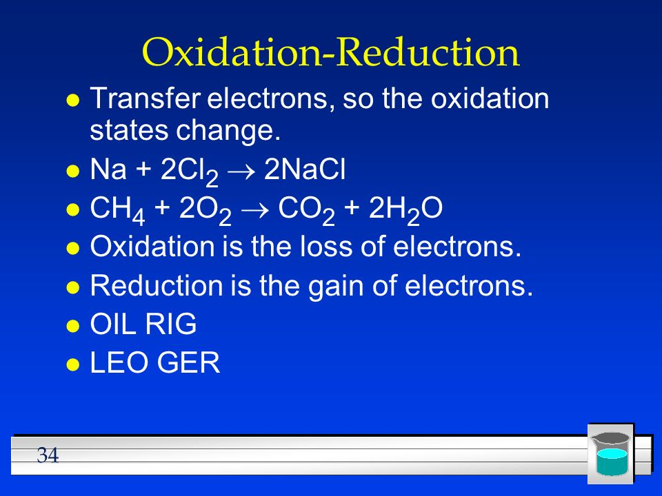 Oxidation-Reduction Transfer electrons, so the oxidation states change. Na + 2Cl2 ® 2NaCl. CH4 + 2O2 ® CO2 + 2H2O.