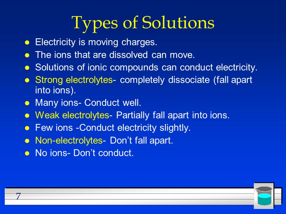 Types of Solutions Electricity is moving charges.