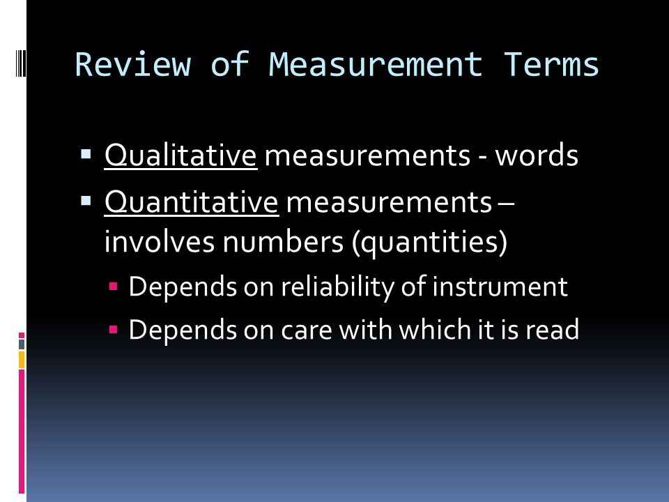 Review of Measurement Terms