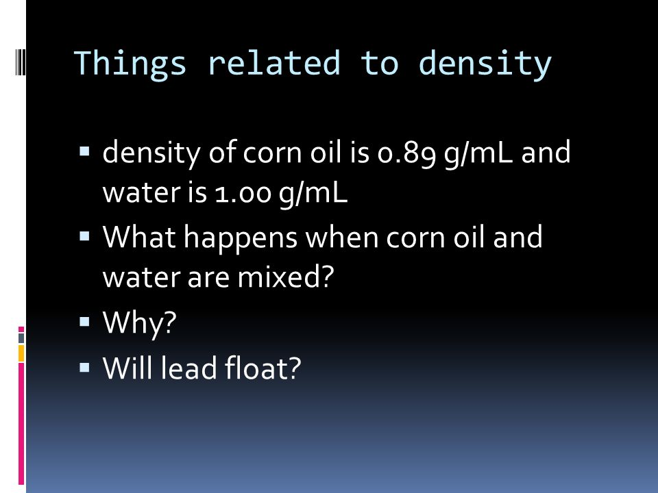 Things related to density