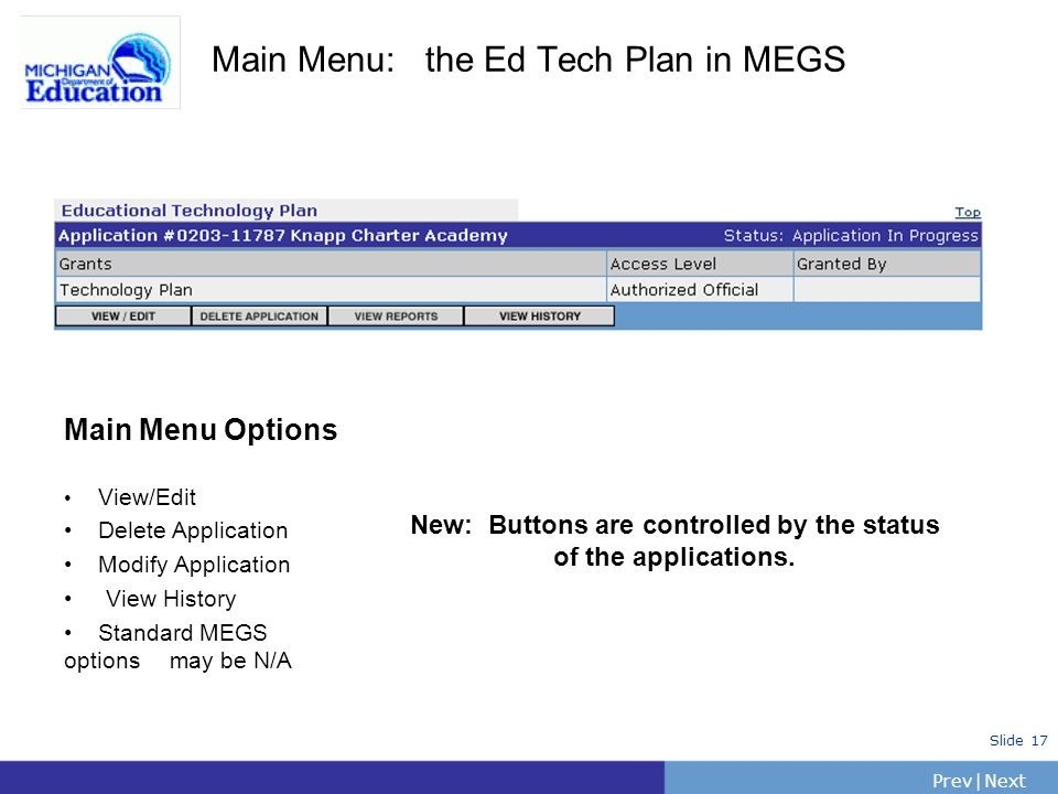 Main Menu: the Ed Tech Plan in MEGS