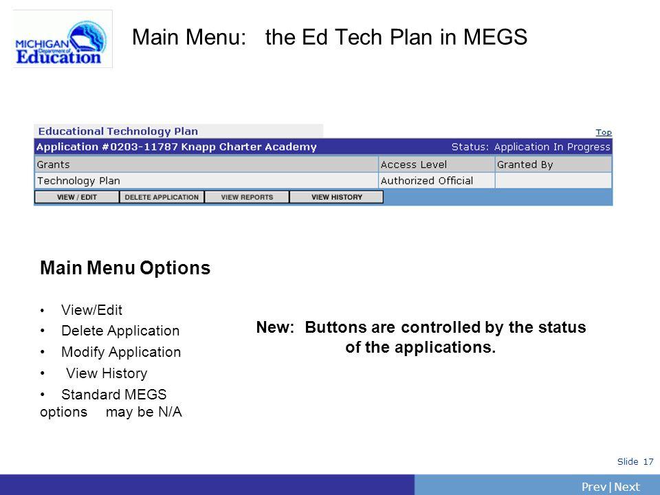 Main Menu: the Ed Tech Plan in MEGS