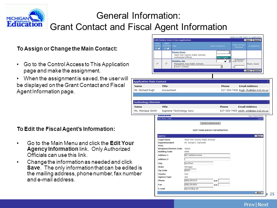 General Information: Grant Contact and Fiscal Agent Information