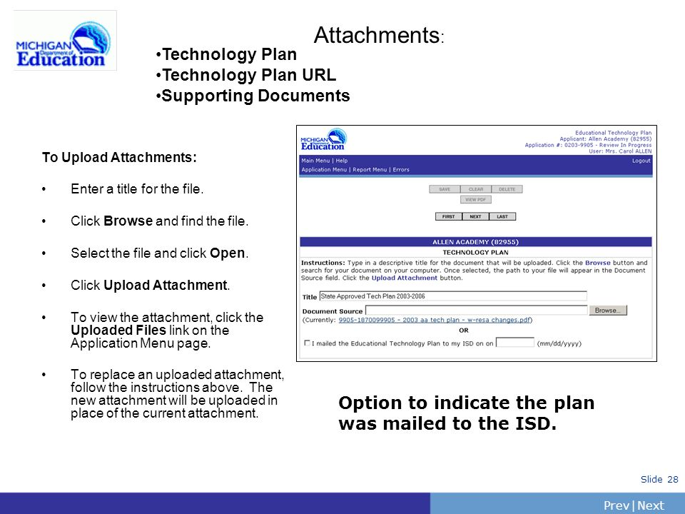Attachments: Technology Plan Technology Plan URL Supporting Documents