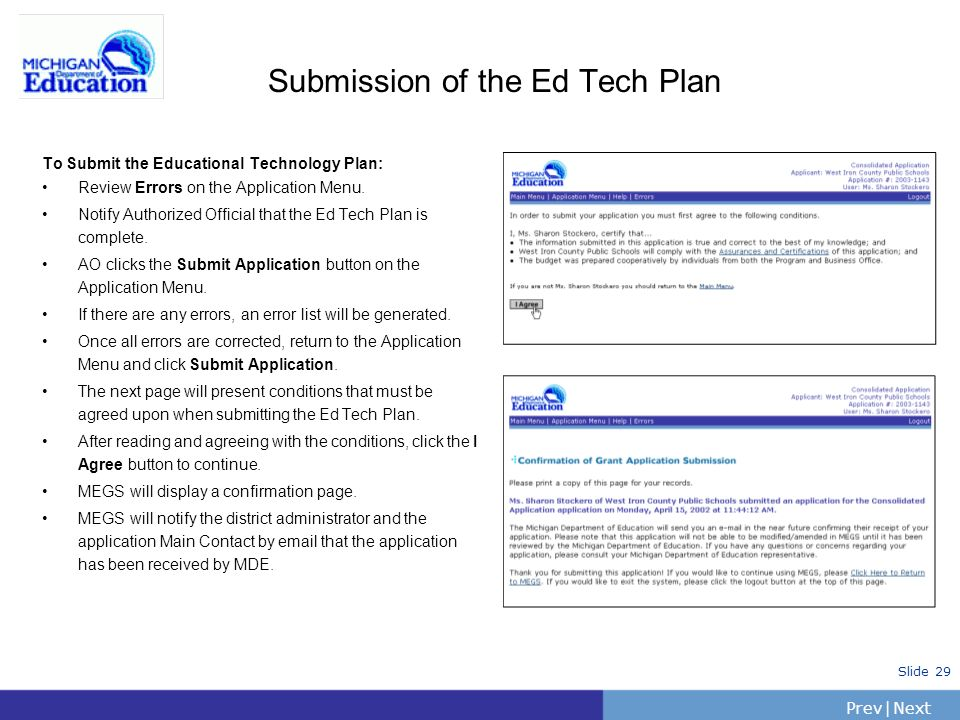 Submission of the Ed Tech Plan