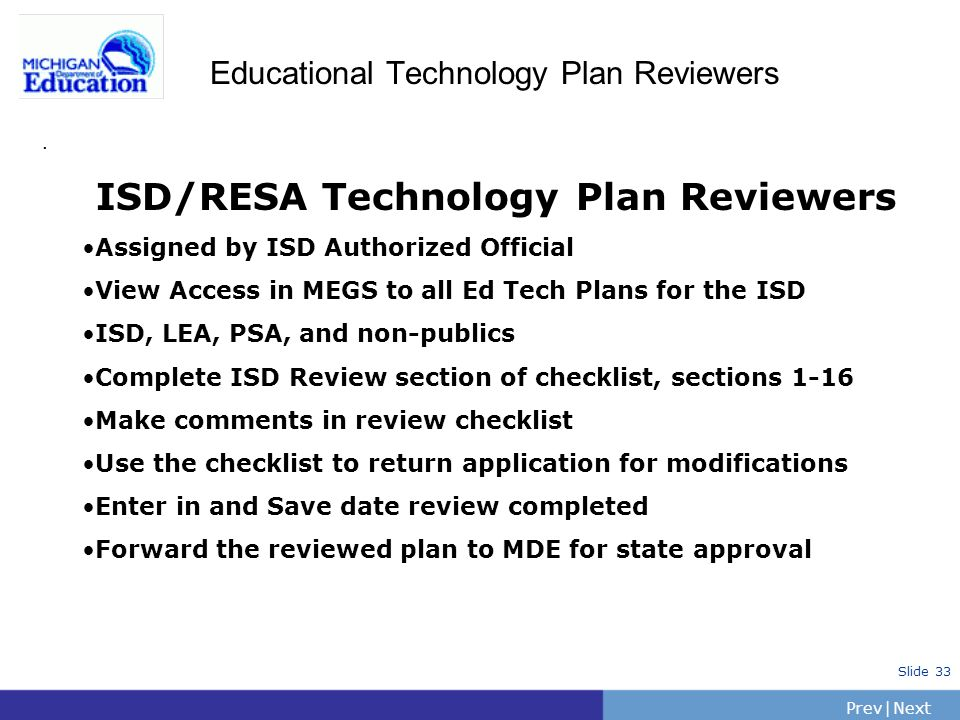 Educational Technology Plan Reviewers