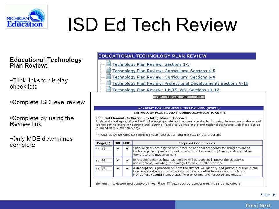 ISD Ed Tech Review Educational Technology Plan Review: