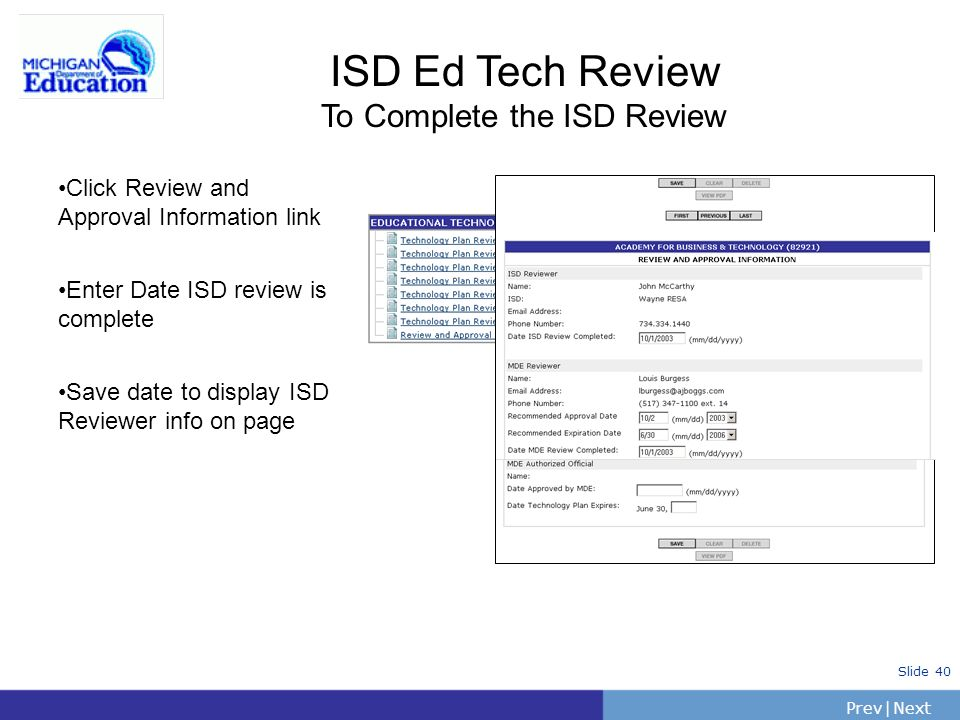 To Complete the ISD Review