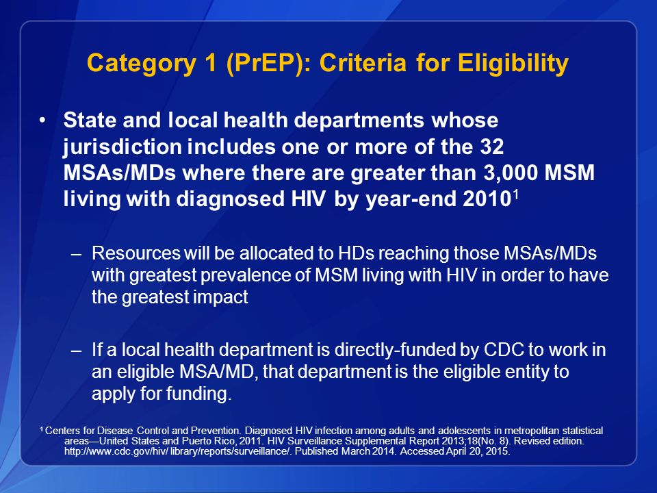 Category 1 (PrEP): Criteria for Eligibility