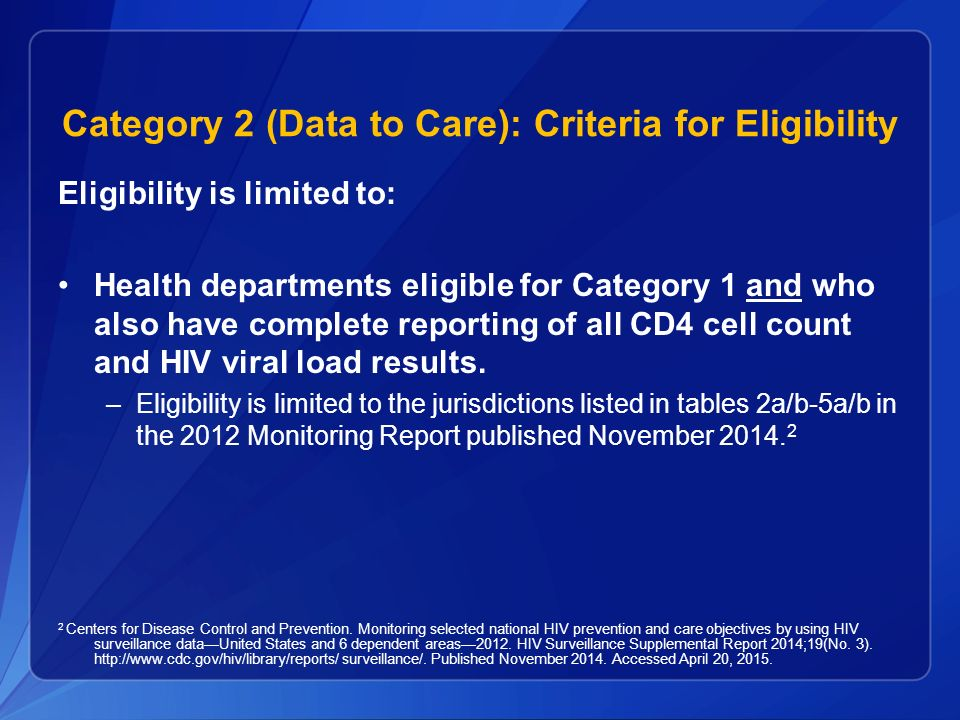 Category 2 (Data to Care): Criteria for Eligibility