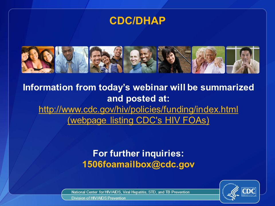 CDC/DHAP Information from today's webinar will be summarized and posted at: