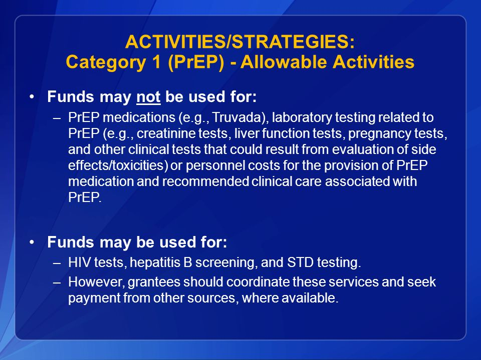 ACTIVITIES/STRATEGIES: Category 1 (PrEP) - Allowable Activities
