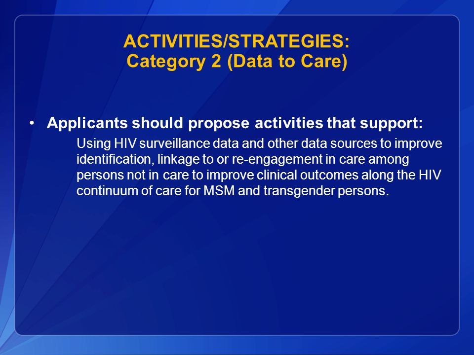 ACTIVITIES/STRATEGIES: Category 2 (Data to Care)
