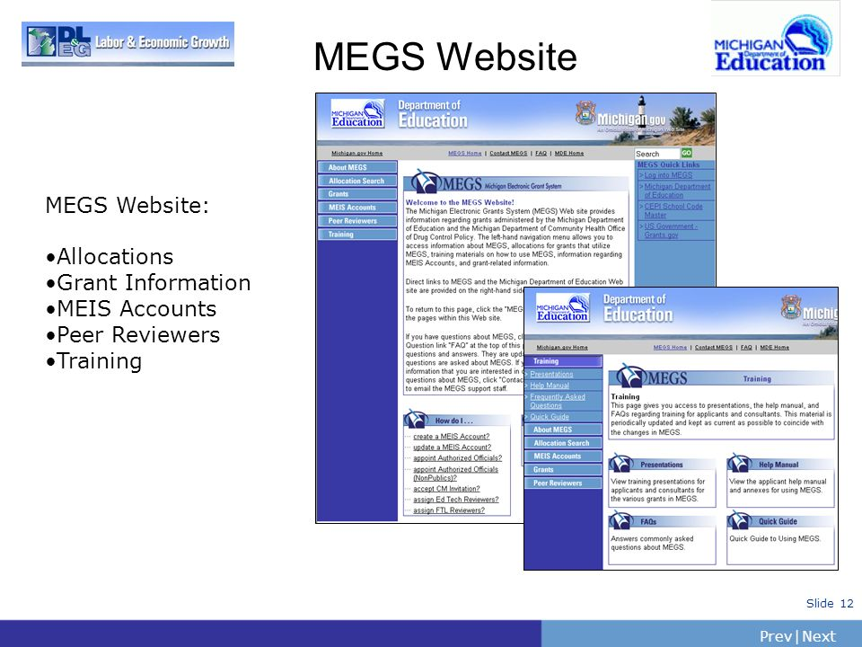MEGS Website MEGS Website: Allocations Grant Information MEIS Accounts