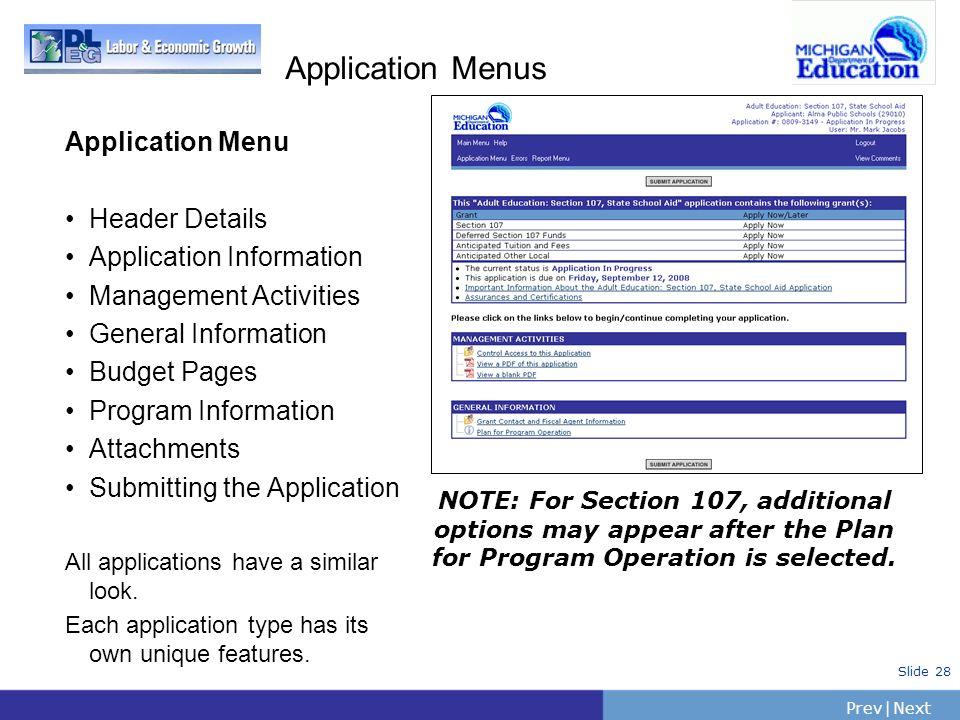 Application Menus Application Menu Header Details