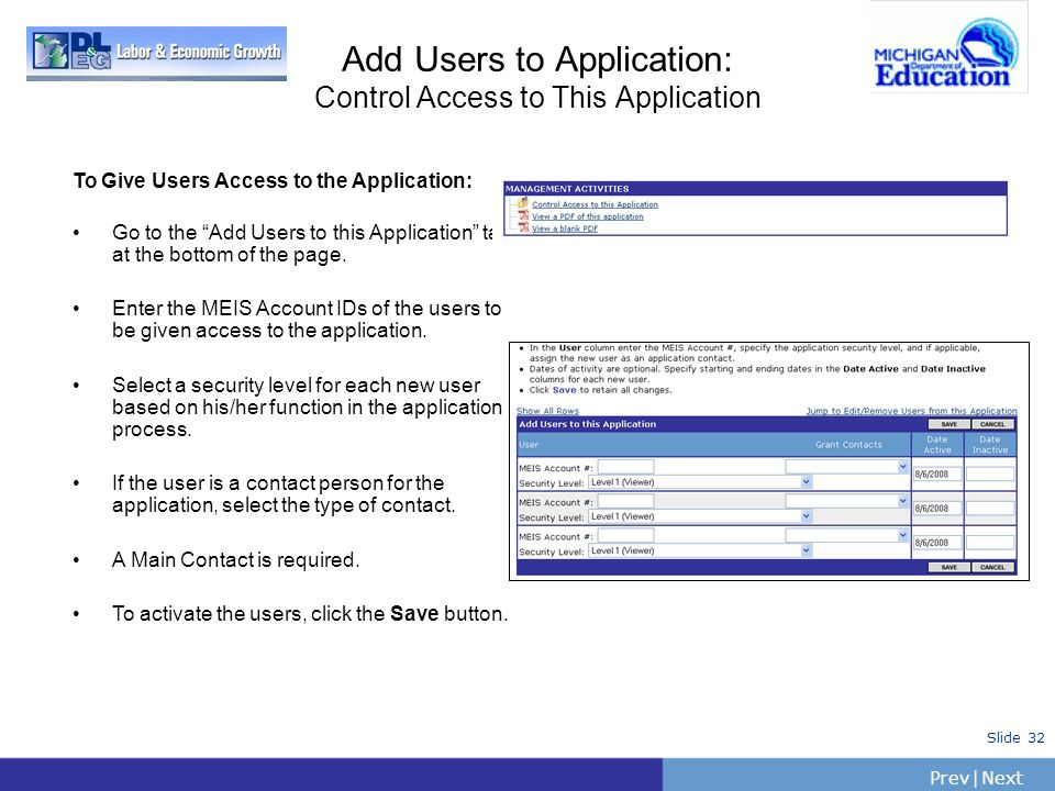 Add Users to Application: Control Access to This Application