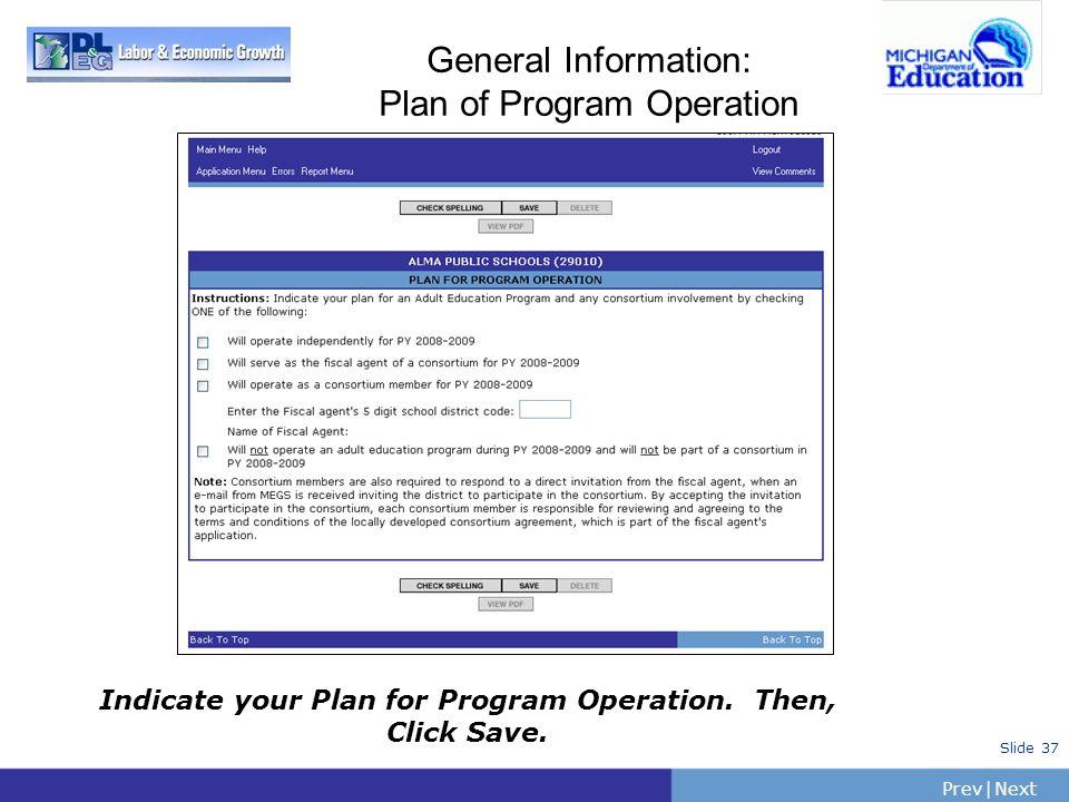 General Information: Plan of Program Operation