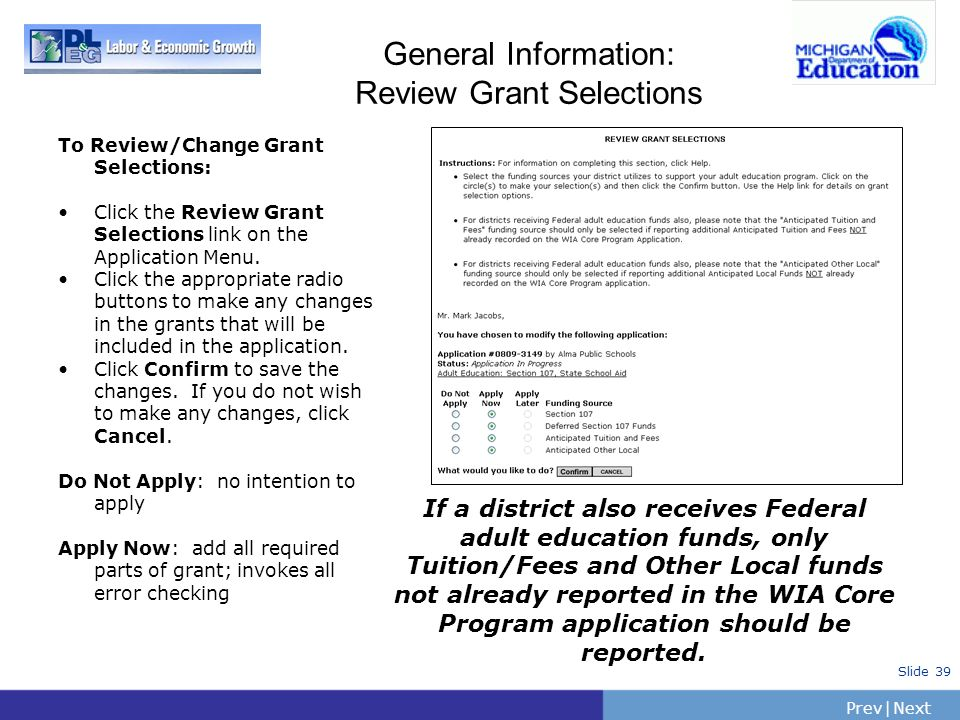 General Information: Review Grant Selections
