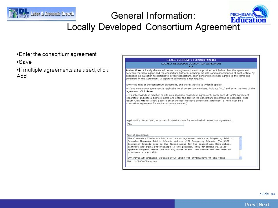 General Information: Locally Developed Consortium Agreement