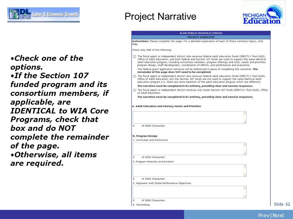 Project Narrative Check one of the options.