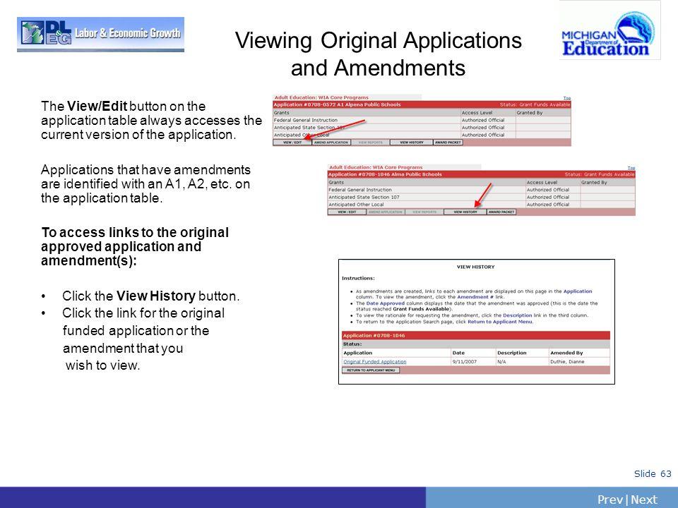 Viewing Original Applications