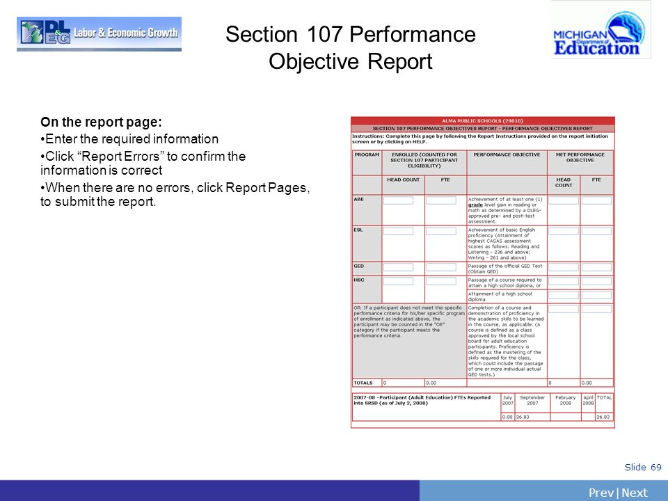 Section 107 Performance Objective Report On the report page: