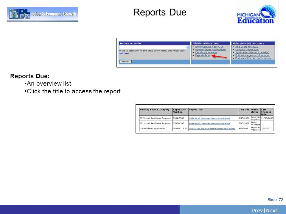 Reports Due Reports Due: An overview list