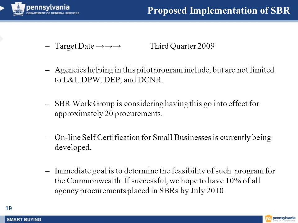 Proposed Implementation of SBR