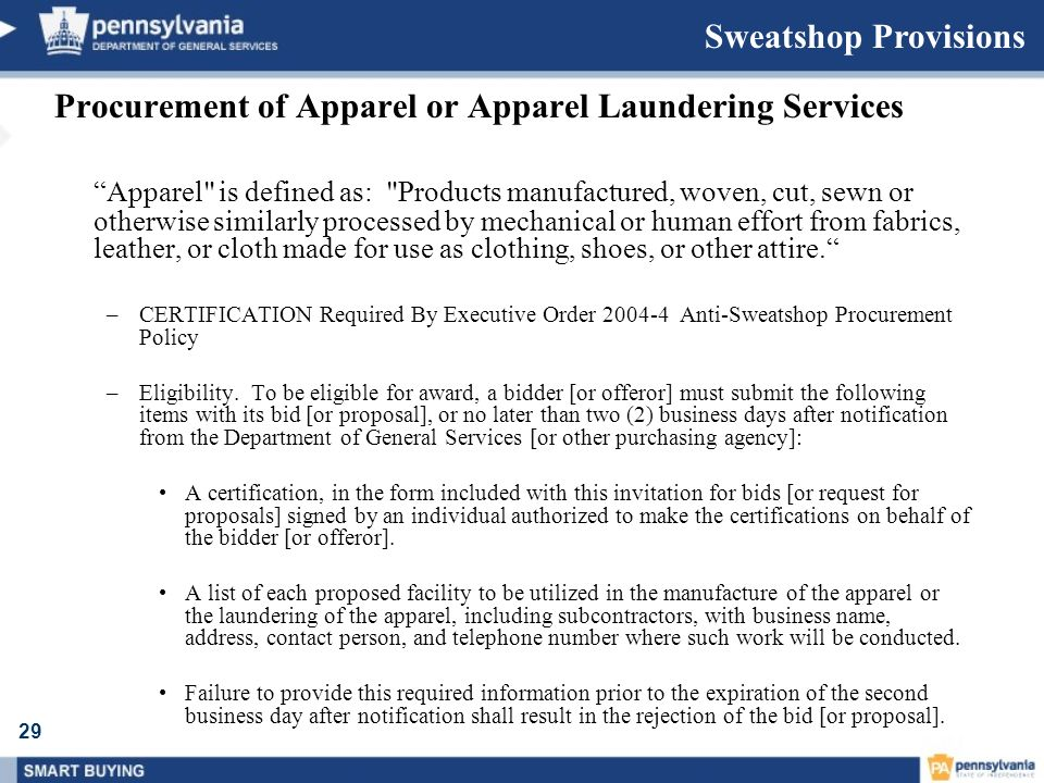 Procurement of Apparel or Apparel Laundering Services