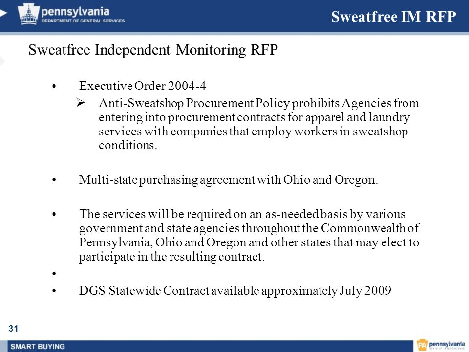 Sweatfree Independent Monitoring RFP