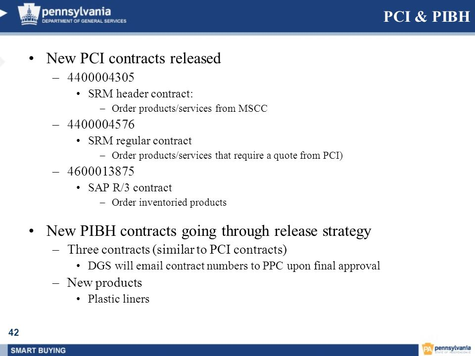 New PCI contracts released