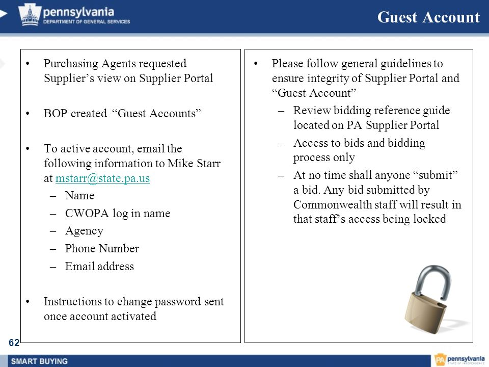 Guest Account Purchasing Agents requested Supplier's view on Supplier Portal. BOP created Guest Accounts
