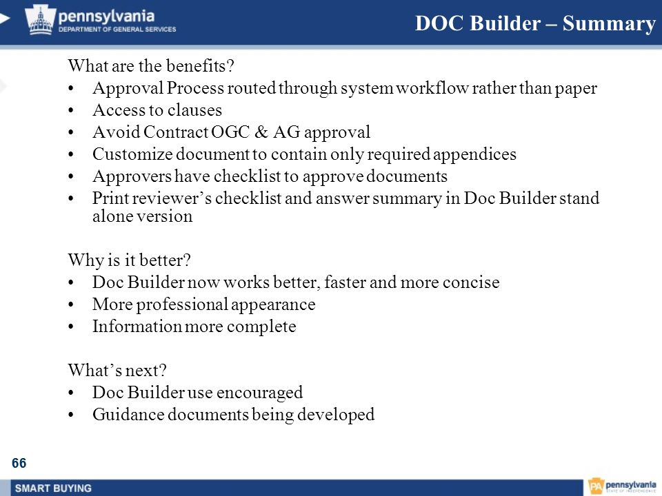 DOC Builder – Summary What are the benefits