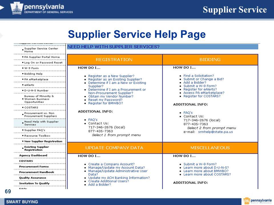 Supplier Service Help Page