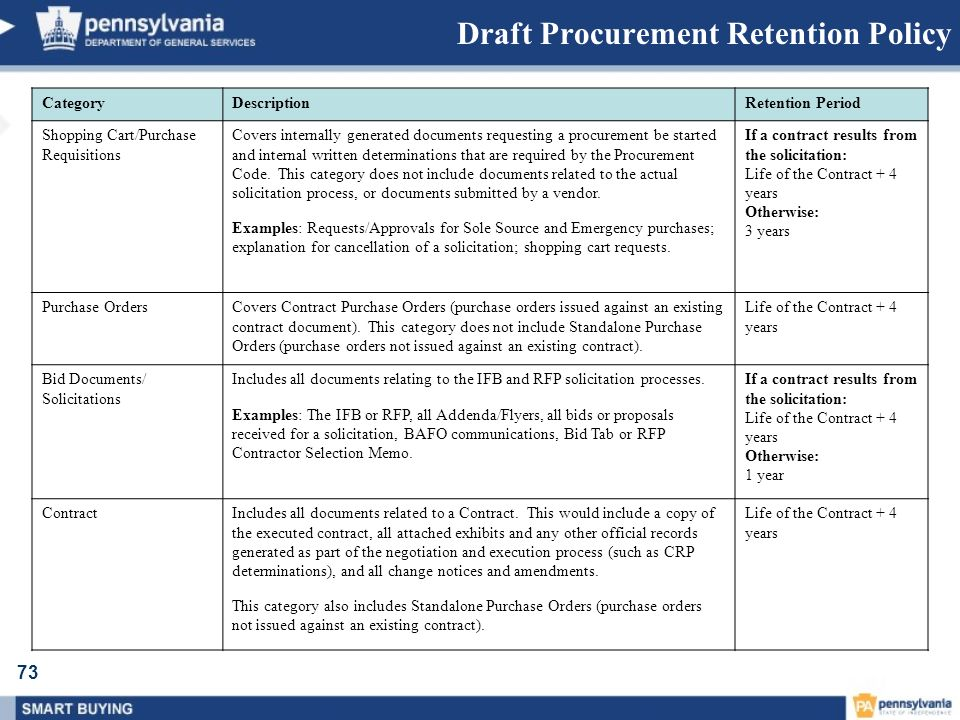 Draft Procurement Retention Policy