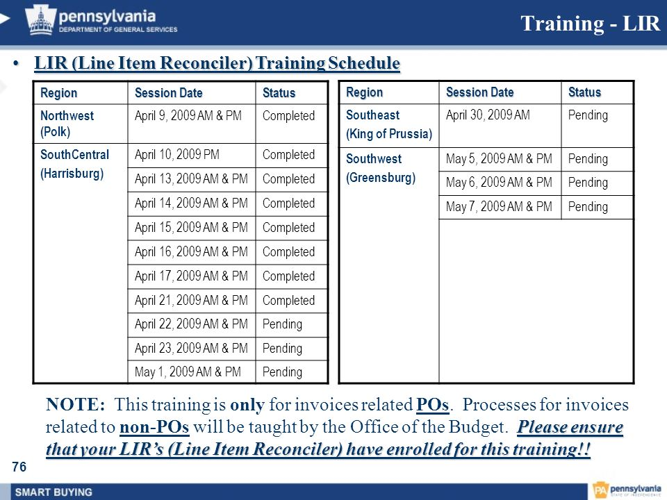 Training - LIR LIR (Line Item Reconciler) Training Schedule
