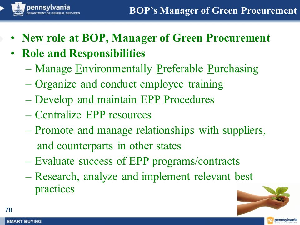 BOP's Manager of Green Procurement