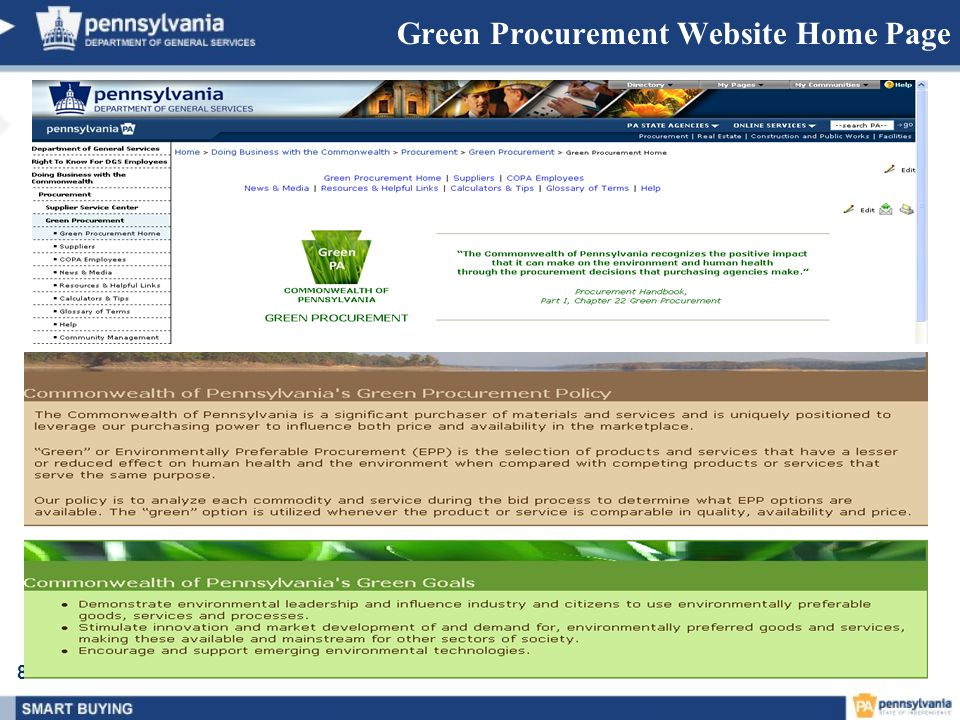 Green Procurement Website Home Page