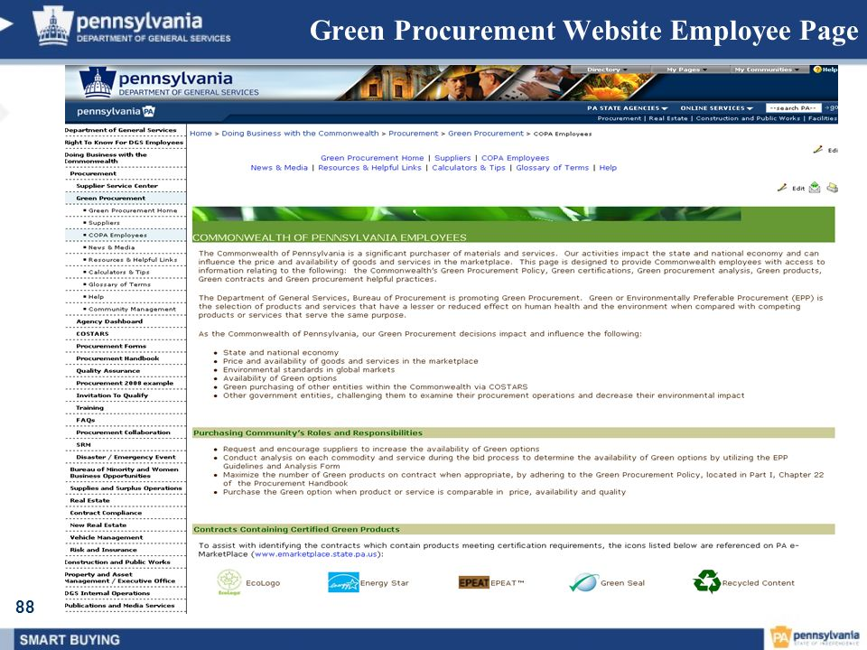 Green Procurement Website Employee Page