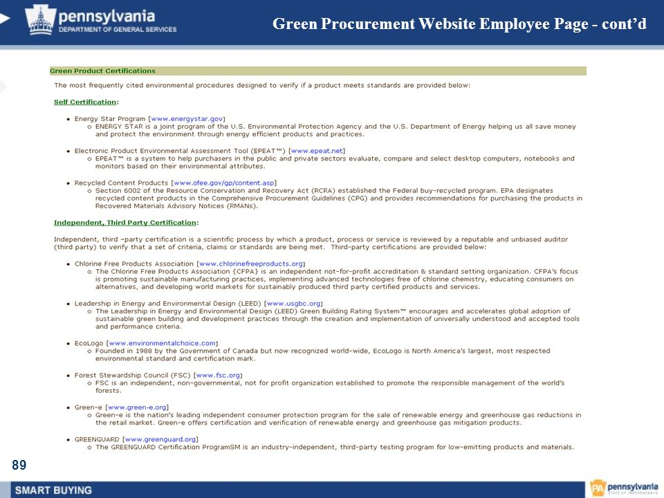 Green Procurement Website Employee Page - cont'd