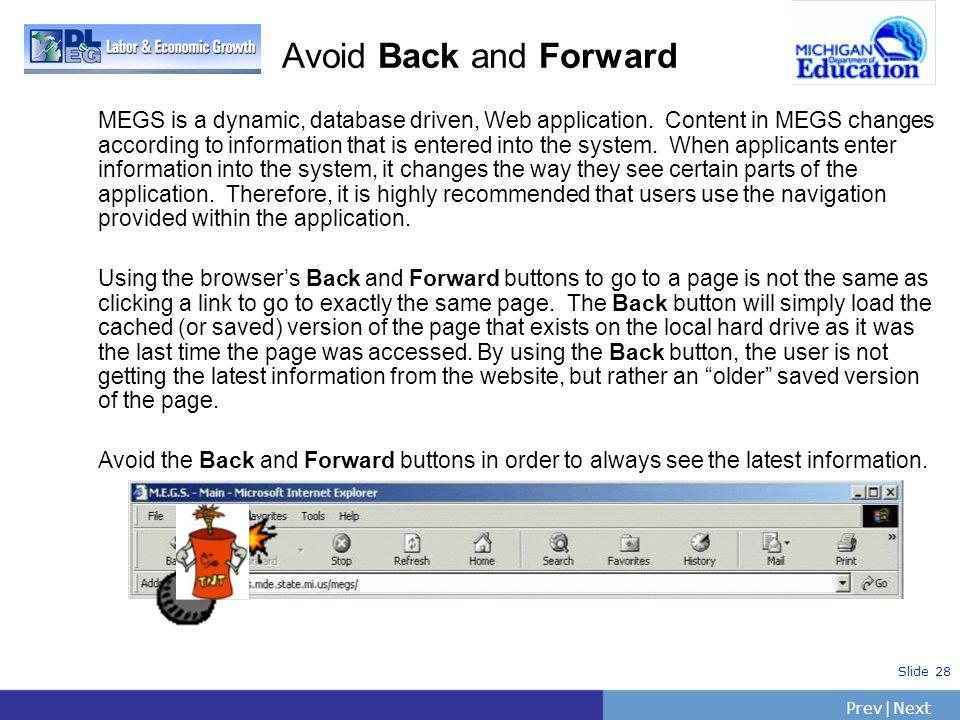 Avoid Back and Forward