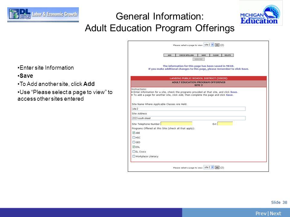 General Information: Adult Education Program Offerings