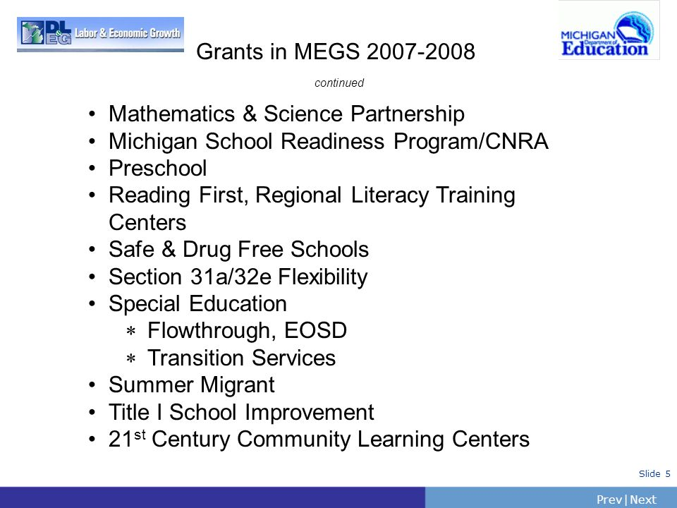 Grants in MEGS 2007-2008 continued